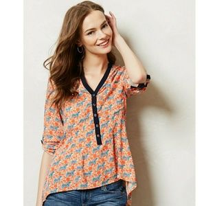 Anthropologie Tiger Honore Buttondown Top Size 8